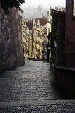 An old European stairway in Prague. Early morning sunrise from a stairway in prague Stock Images