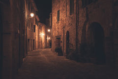 Old european street at night. Old european town street at night royalty free stock photos