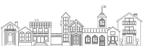 Free Old European Town Contour. Vector Isolated Houses Outline Illustration Royalty Free Stock Images - 108943189
