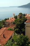 Old european town and Mediterranean sea Stock Image