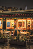 Old european town street cafe at night Royalty Free Stock Image