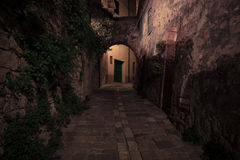 Old european town street at night Royalty Free Stock Photo