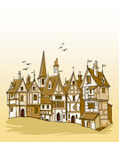 Old european town vector illustration Stock Photography
