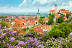 Old European Town With Castle, Clock And Flowers Royalty Free Stock Image