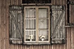 Old European wooden window Royalty Free Stock Image