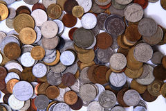 Old european and world coins background Royalty Free Stock Photography