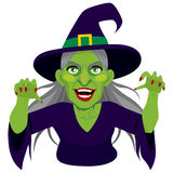 Old Evil Scary Witch. Old evil scary green skin witch with menacing expression showing claws  on white background Stock Photography