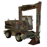 Old excavator. 3D rendering old excavator construction vehicles Royalty Free Stock Image