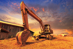 Old excavator standing Stock Photography