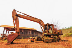 Old excavator standing Royalty Free Stock Image