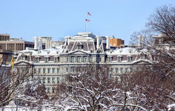 Old Excecutive Office Building Snow Washington Stock Photos