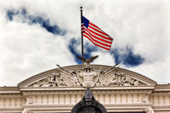 Old Executive Office Building Roof Decorations Flag Washington D Stock Image
