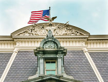 Old Executive Office Eisenhower Building Roof Flag Washington DC. Roof Decorations Flag Old Executive Office Dwight Eisenhower Building, Vice President`s Office royalty free stock photography