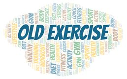 Old Exercise word cloud. Wordcloud made with text only stock illustration