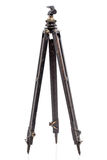 Old expedition oaken wooden tripod. Isolated on a white background Royalty Free Stock Photo
