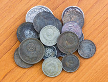 Old expired coins. USSR coins and silver coins Royalty Free Stock Photography