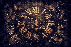 Old exploding clock dial Royalty Free Stock Photography
