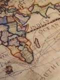Old Explorer's Map. An old map showing explorer's routes Royalty Free Stock Images