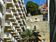Old exterior facade building in Naples City. Stock Photos