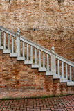 Old exterior staircase on a brick building royalty free stock photos