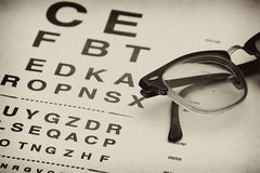 Old eyechart. Old fashioned eyeglasses laying on top of eyechart test Stock Photo