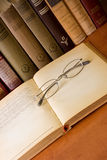 Old Eyeglass On A Old Book Royalty Free Stock Images