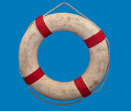Old fabric lifebuoy hanging Royalty Free Stock Images