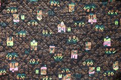 Old fabric print of pink houses Royalty Free Stock Images
