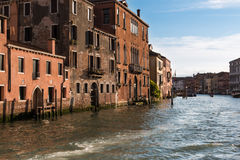 Old Facade along Typical Water Canal in Venice, Italy Royalty Free Stock Images