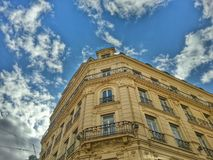 The old facade of the building ancient in Lyon old town, Lyon old town, France Stock Photos