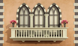 Old facade with classic balcony balustrade Stock Image
