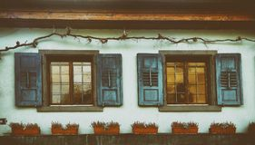 Old Windows with flowers Staufen im Breisgau Schwarzwald germany. Old Facade decorated with flowers in Staufen im Breisgau Schwarzwald Germany royalty free stock photo