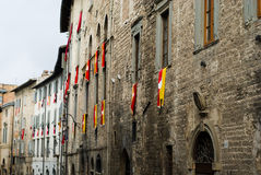 Old facade with the flags of t Royalty Free Stock Photography