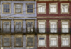 Old facade Portuguese. Detall some buildings decorated with tiles Stock Photo