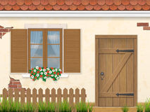 Old facade wall window and wooden door Royalty Free Stock Photo