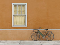 Old facade with window and bicycle Stock Image