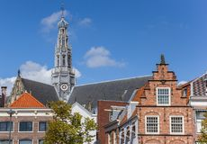 Old facades and church tower in Haarlem Royalty Free Stock Image