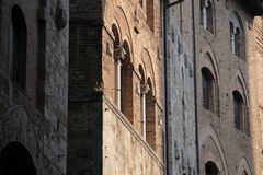 Old facades in San Gimignano Royalty Free Stock Images