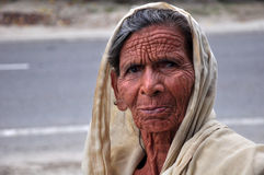 Old face. Beautiful face shot of old indian lady Stock Images