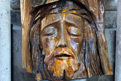 Old face of Jesus made of wood Stock Photos