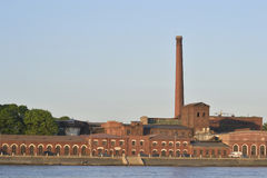 Old Factory. The old brick factory near the waterfront, St.Petersburg Stock Photos