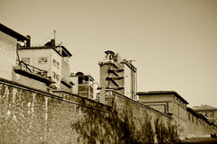 Old factory. View of an old cement factory royalty free stock photo