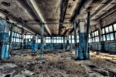 Old factory. Old abandoned factory, indoors. Hdr image royalty free stock photo