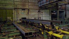Old factory of auto components production. Warehouse of an aluminum pipes. the production of metal pipes. Pipe welding stock video footage