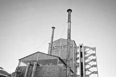 Old factory. Black & white photo of an old facroty Royalty Free Stock Photo