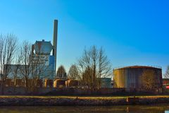 Old factory buildings. Silo's, production unites Royalty Free Stock Photography