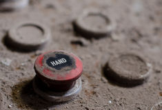 Old factory control panel button. With dusty rusty surface Royalty Free Stock Photography