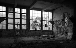 Old factory hall. Old abandoned factory hall in Prague, Czech republic stock images