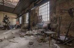 Old factory halls. Old abandoned factory halls with machines Royalty Free Stock Image