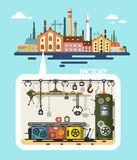 Old Factory - Industrial Flat Design Vector Building Stock Images
